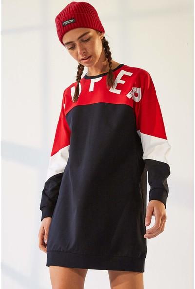 Tommy Life Cepli Süper Yazı Baskılı Lacivert-Kırmızı Kadın Sweatshirt