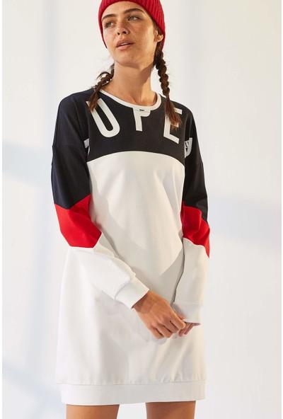 Tommy Life Cepli Süper Yazı Baskılı Beyaz-Lacivert Kadın Sweatshirt