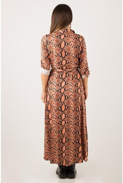 Morpile Kadın Yılan Desen Uzun Elbise