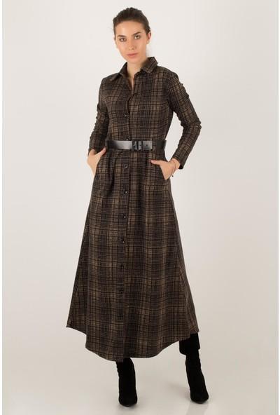 Morpile Kadın Ekose Elbise