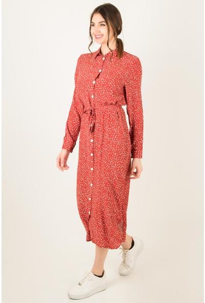 Morpile Kadın Desenli Gömlek Elbise