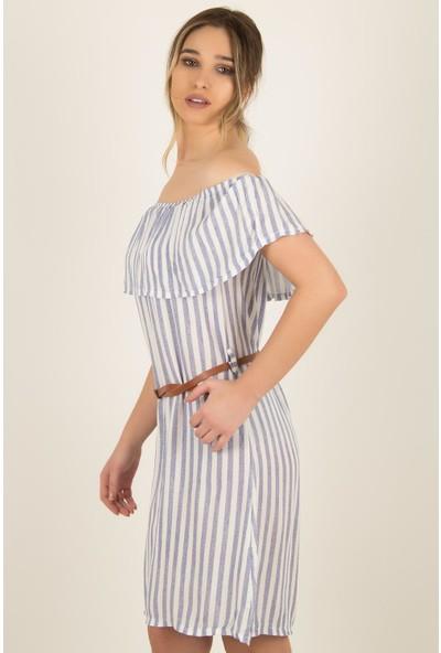 Morpile Kadın Beli Bağlamalı Fırfırlı Elbise
