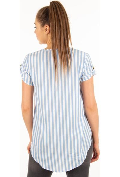 Morpile Kadın Arkası Uzun İpli Bluz
