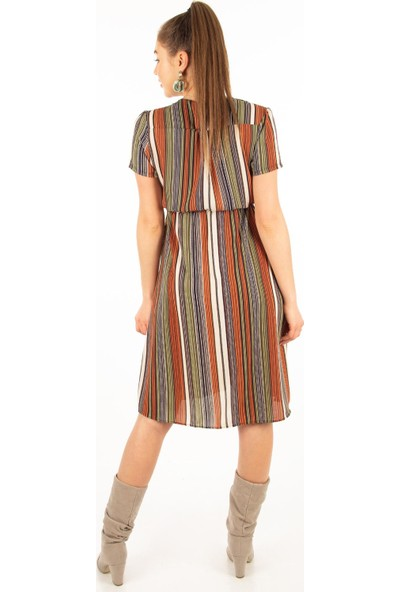 Morpile Kadın Kısa Kol Kobe Kruvaze Elbise