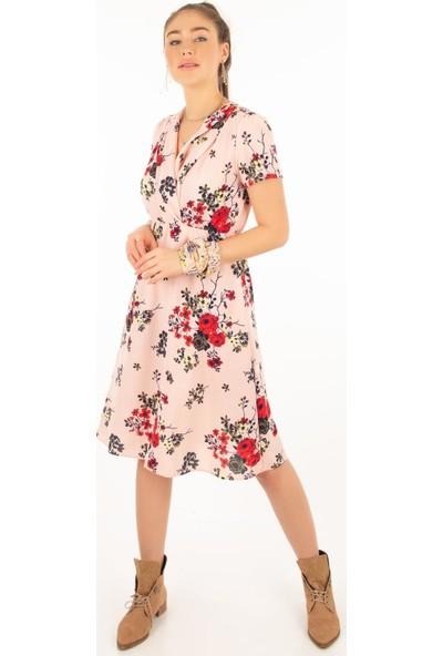 Morpile Kadın Kısa Kol Desenli Elbise