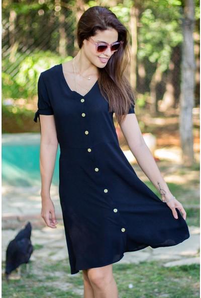 Morpile Kadın Düğmeli Kısa Kol Elbise