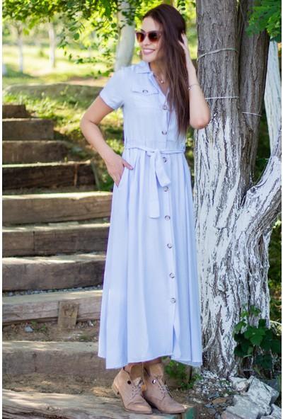 Morpile Kadın Kısa Kol Düğmeli Elbise