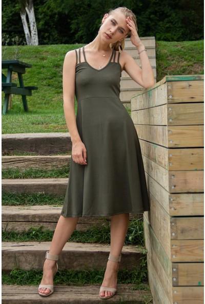 Morpile Kadın Askılı V Yaka Elbise
