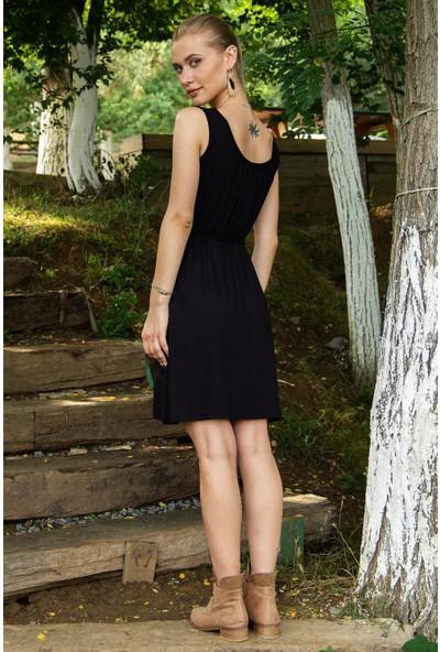 Morpile Kadın Belden Lastikli Sıfır Kol Elbise