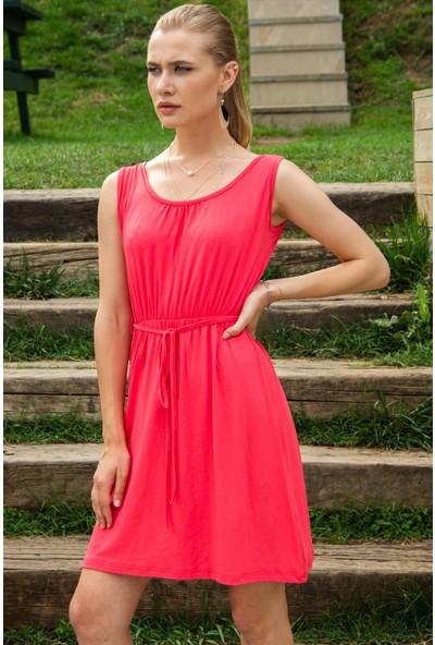 Morpile Kadın Belden Lastiklı Sıfır Kol Elbise