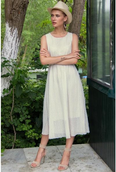Morpile Kadın Örme Sıfır Kol Astarlı Elbise