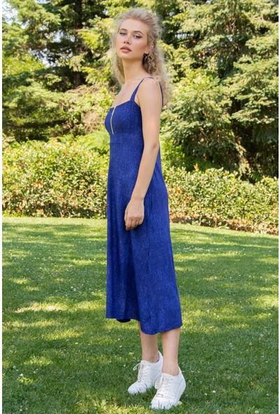 Morpile Kadın Göğüs Fermuarlı Askılı Elbise