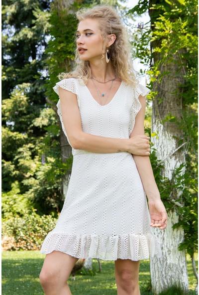Morpile Kadın Astarlı Örme Elbise