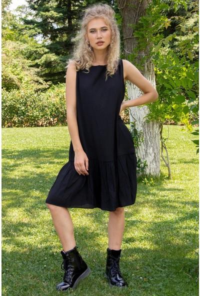 Morpile Kadın Sıfır Kollu Pileli Elbise
