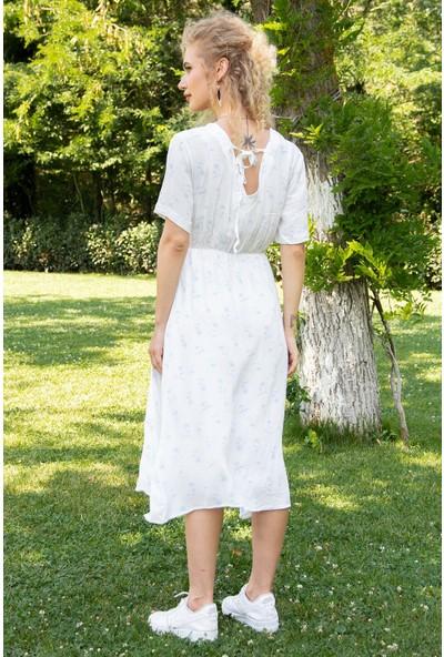 Morpile Kadın Düğmeli Sırt Dekolteli Elbise