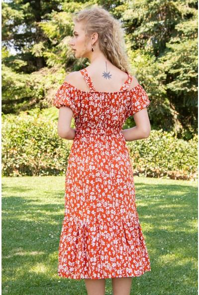 Morpile Kadın Askılı Omuz Detaylı Elbise