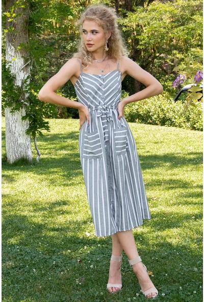 Morpile Kadın Düğmeli Askılı Elbise