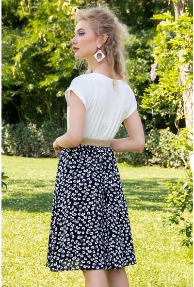Morpile Kadın Çift Renk Çiçek Baskılı Elbise