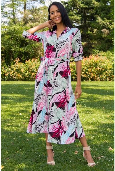 Morpile Kadın Desenli Gömlek Yaka Elbise
