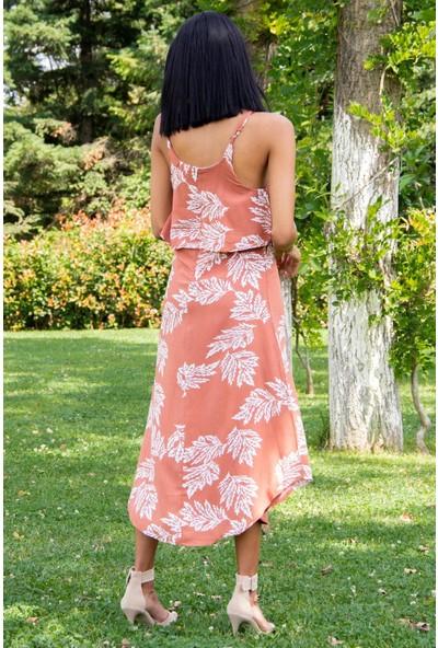 Morpile Kadın Askılı Desenli Elbise