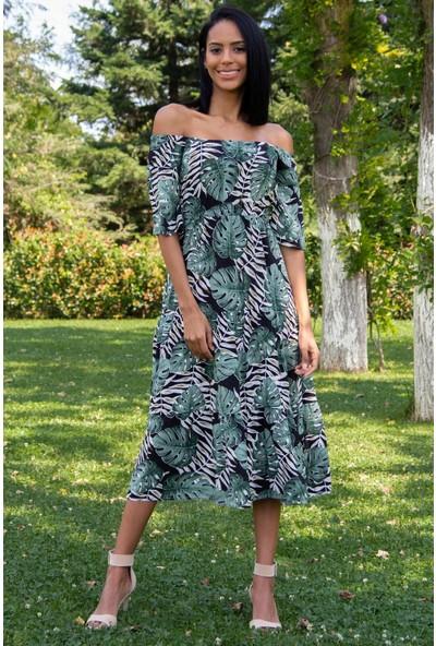Morpile Kadın Desenli Bel Lastikli Elbise