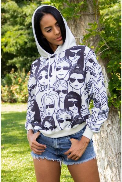Morpile Kadın Kapüşonlu Baskılı Sweatshirt