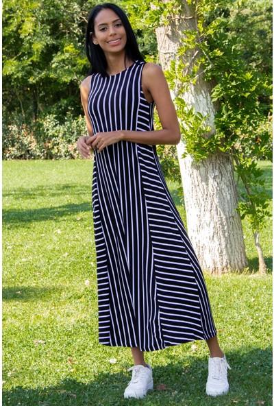 Morpile Kadın Çizgili Sıfır Kol Elbise