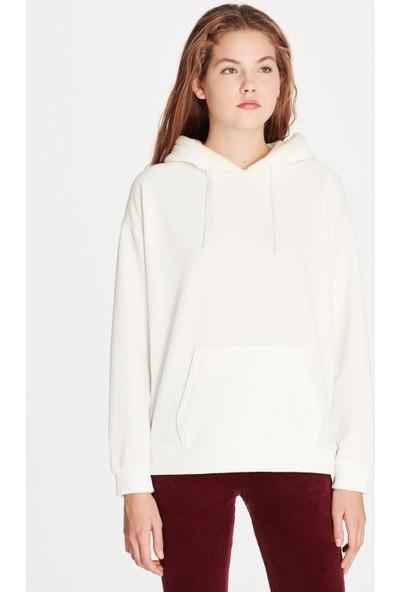 Mavi Kadın Kapüşonlu Beyaz Sweatshirt