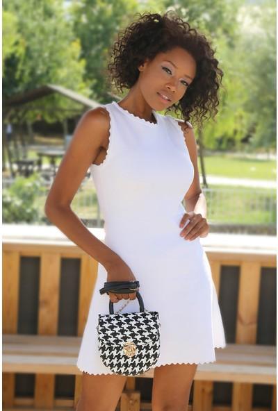 Stilgo Siyah Beyaz Kadın Omuz Çantası TL99Z