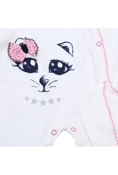 Bertoby Kedi Baskılı Şapkalı Beyaz Pembe Kız Takım