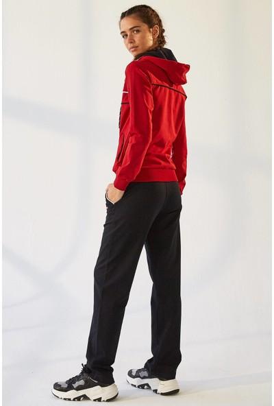 Tommy Life Kapşonlu Biyeli Kırmızı-Lacivert Kadın Eşofman Takım