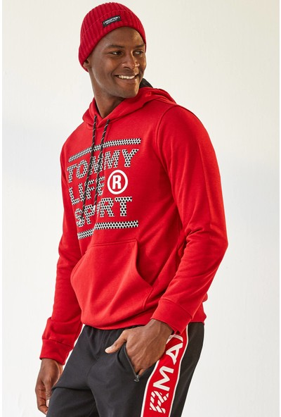 Tommy Life Sport Baskılı Kapşonlu Kırmızı Erkek Sweatshirt