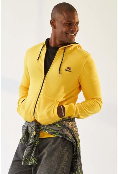 Tommy Life Kapşonlu Sarı Erkek Sweatshirt
