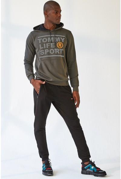 Tommy Life Cep Fermuarlı Siyah Erkek Eşofman Alt