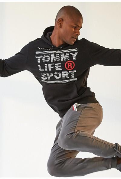 Tommy Life Cep Baskılı Koyu Gri Erkek Eşofman Alt