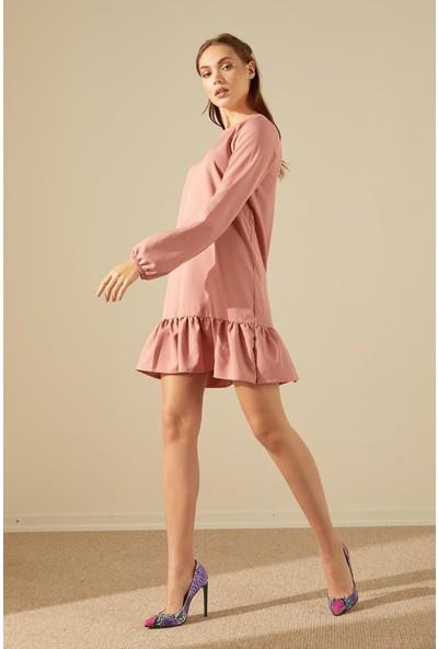 Trendmay Kadın Eteği Fırfırlı Midi Elbise-Somon
