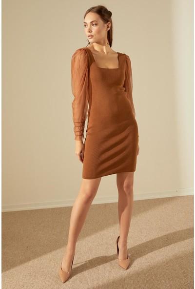 Trendmay Kadın Kolu Tül Detay Mini Triko Elbise-Kahve