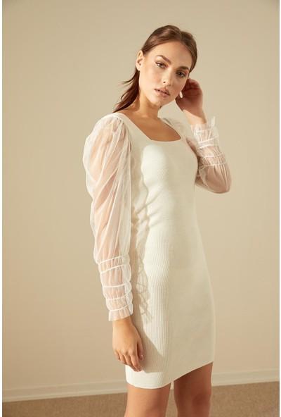 Trendmay Kadın Kolu Tül Detay Mini Triko Elbise-Beyaz