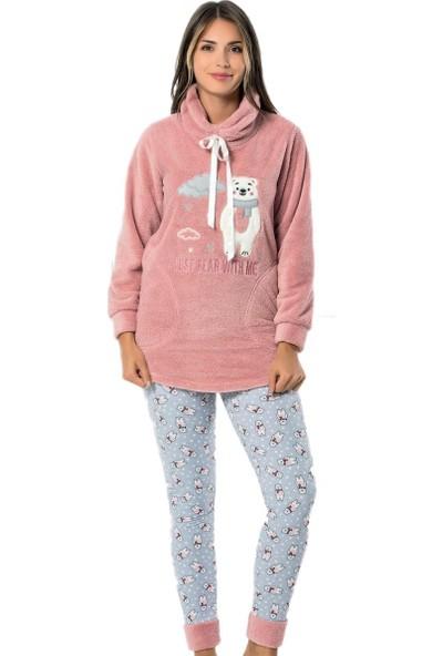 Pijama Evi Bear Desenli Tam Peluş Pijama Takımı
