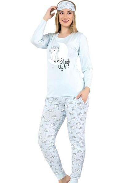 Pijama Evi Mavi Sleepy Cat Desenli Uzun Kollu Manşetli Kadın Pijama Takımı