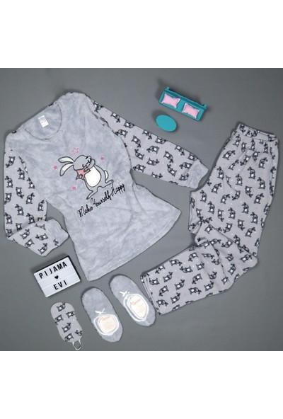 Pijama Evi Happy Rabbit Desenli Kadın Peluş Pijama Takımı