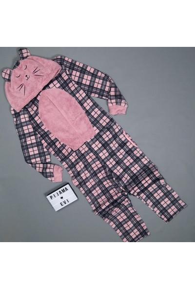 Pijama Evi Kareli Kadın Polar Peluş Tulum Pijama Takımı