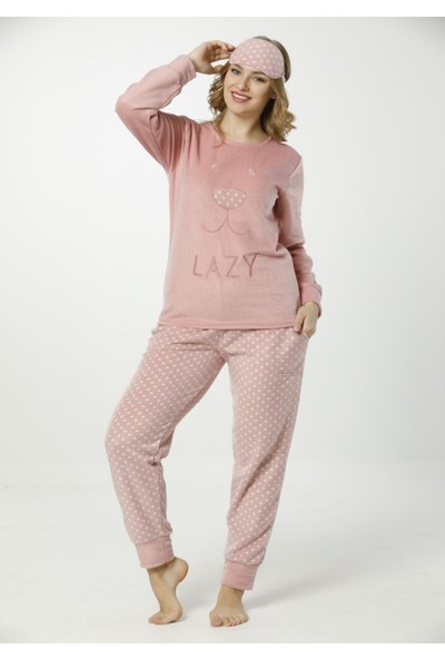 Pijama Evi Lazy Desenli Kadın Yumoş Peluş Pijama Takımı