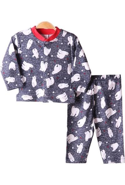 Breeze Kız Çocuk Pijama Takımı Kutup Ayılı Füme 3 Ay-9 Ay