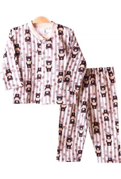 Breeze Kız Çocuk Pijama Takımı Ayıcıklı Kahverengi 3 Ay-9 Ay