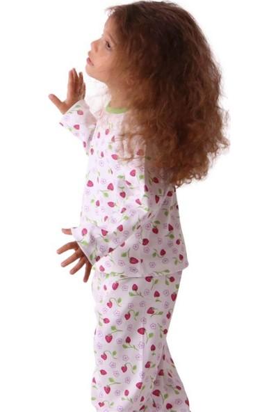Breeze Kız Çocuk Pijama Takımı Çilekli Ekru-Kırmızı 1-4 Yaş