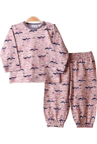 Breeze Kız Çocuk Pijama Takımı Desenli Kahverengi 1-4 Yaş