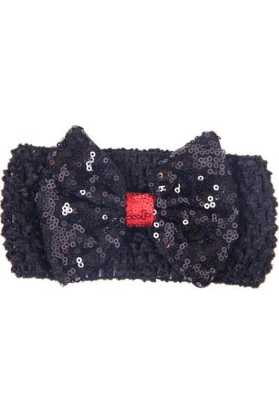 Breeze Kız Çocuk Kzı Pullu Bandana Siyah-Kırmızı Standart