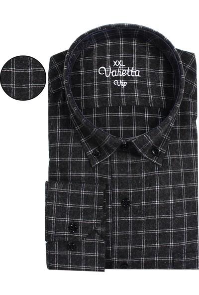 Varetta Büyük Beden Siyah Kışlık Gömlek