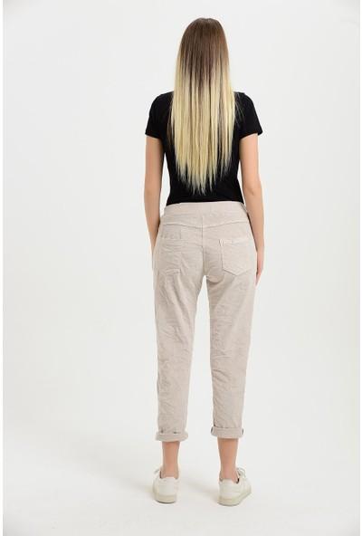 Pua Fashion Kadın Bej Kadife Beli Lastikli Pantolon